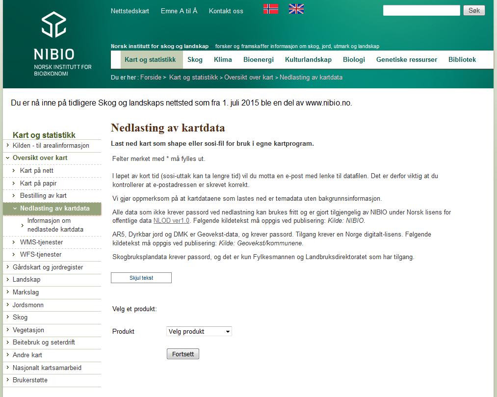 nibio kart NIBIO   nedlasting av kart   Norsk institutt for bioøkonomi