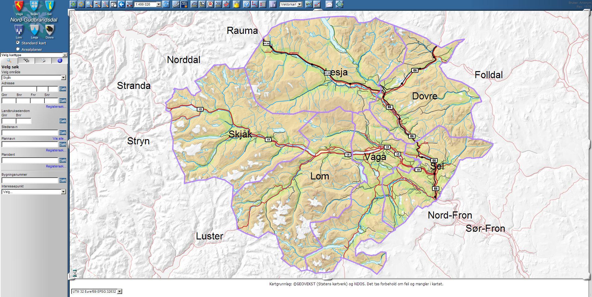 sel kommune kart Kartinnsyn Dovre, Lesja, Lom, Sel, Skjåk og Vågå kommune   Lom  sel kommune kart
